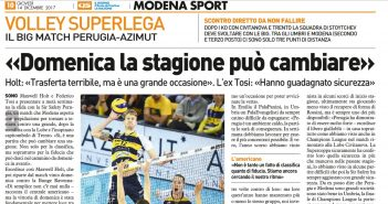 Modena Volley - Resto del Carlino: in vista del match contro Perugia, Holt: