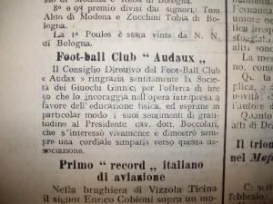 Articolo de Il Panaro del gennaio 1912, in cui si ha una delle prime notizie certe dell'esistenza del club.
