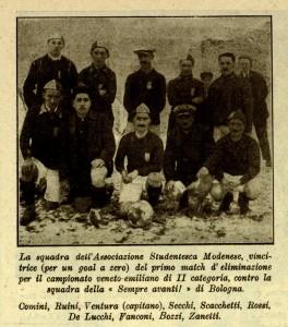 Da La Stampa Sportiva. La formazione (di soli 10 uomini) che vinse 1-0 (per forfait la gara di andata del Campionato Emiliano di II Categoria.