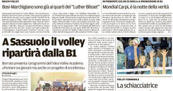 Rassegna Stampa Gazzetta di Modena e Carlino – Basket, Ciclismo e Volley