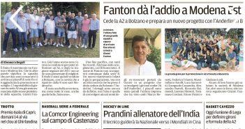 Rassegna Stampa Gazzetta di Modena e Carlino – Atletica, Volley e Motori