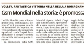 Rassegna Stampa Carlino e Gazzetta di Modena – Volley, Ciclismo, Basket