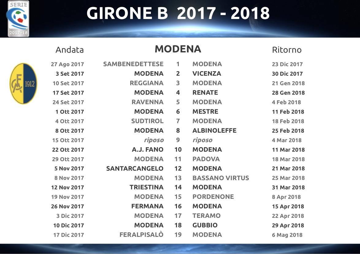 Calendario Lega Pro Girone C.Serie C 2017 18 Il Calendario Completo Del Modena Fc