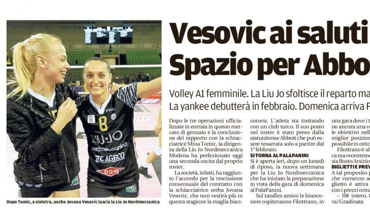 LiuJo Nordmeccanica Modena - Rassegna stampa  Vesovic ai saluti. Spazio per  Abbott - Parlandodisport.it 4aee3cd2fa4