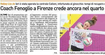 Liu Jo Nordmeccanica - Rassegna Stampa, Fenoglio crede nel quarto posto. Calloni operata