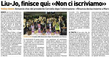 Liu Jo Nordmeccanica - Rassegna Stampa, finisce qui: addio al volley femminile