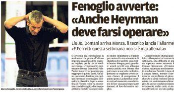 Liu Jo Nordmeccanica - Rassegna Stampa - Due vittorie per il quinto posto, Heyrman dovrà operarsi