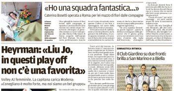 Liu Jo Nordmeccanica - Rassegna Stampa, Bosetti ringrazia le compagne. Heyrman sfida Conegliano
