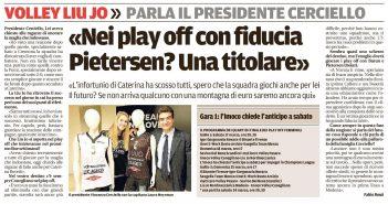 Liu Jo Nordmeccanica - Rassegna Stampa, parla il Presidente Cerciello. Martedì Bosetti a Villa Stuart