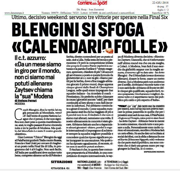 Corriere Dello Sport Calendario.Volley Corriere Dello Sport Blengini Si Sfoga