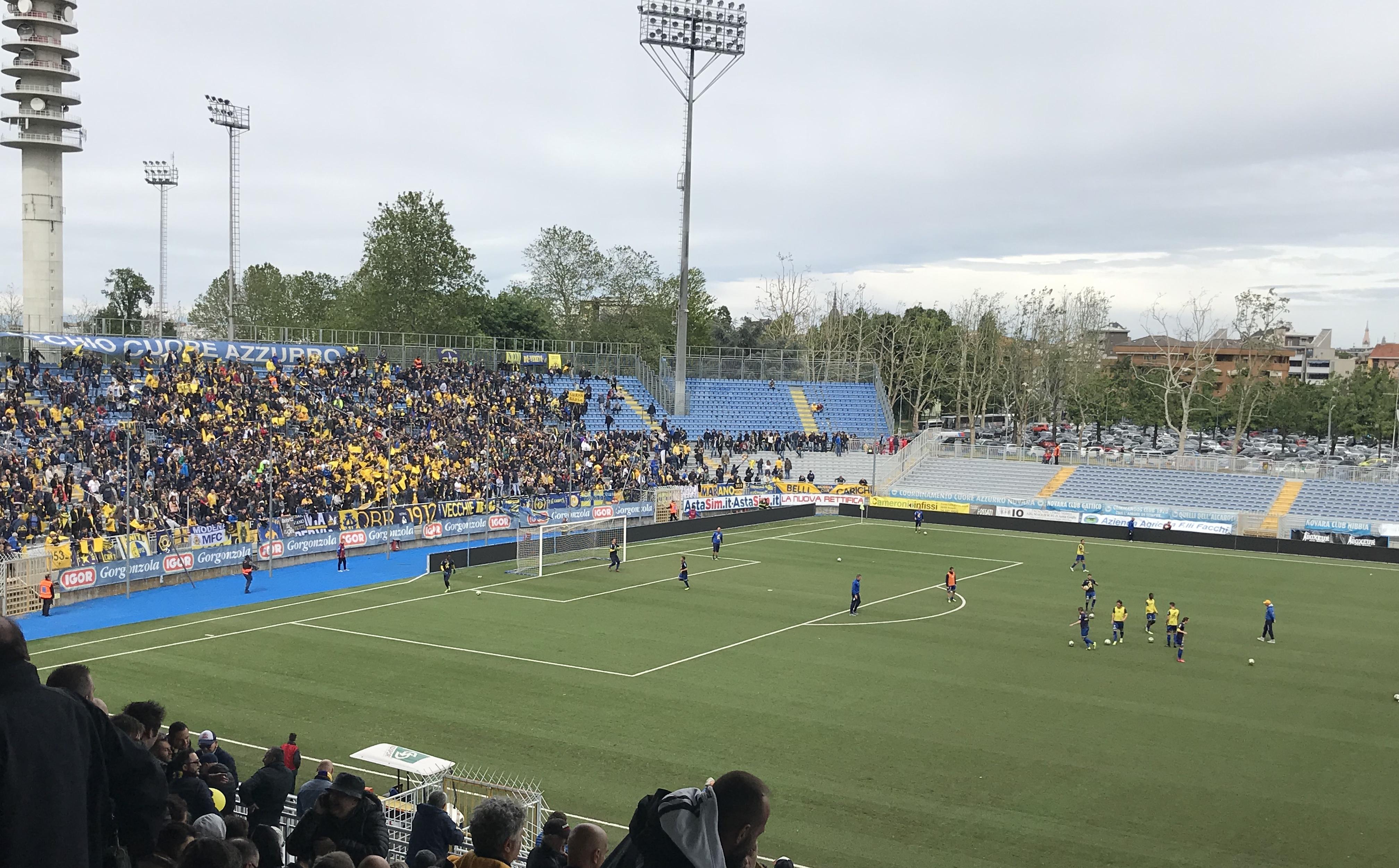 Modena-Pergolettese, il prepartita dallo Stadio Piola di Novara