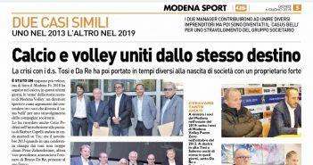 Modena Volley - Resto del Carlino: calcio e volley uniti dallo stesso destino