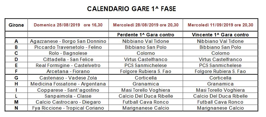 Coppa Italia Calendario.Dilettanti Coppa Italia Eccellenza Il Calendario Della