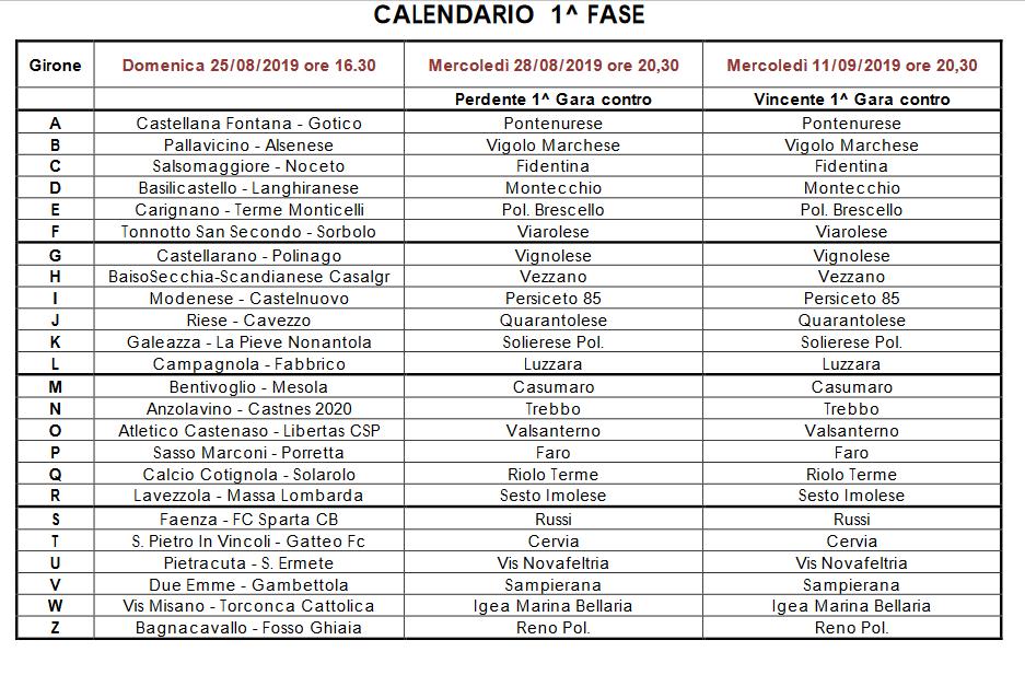 Coppa Italia Calendario.Dilettanti Coppa Italia Promozione Il Calendario Della
