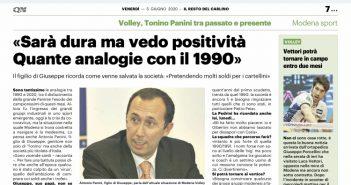 """Modena Volley - Resto del Carlino, Tonino Panini: """"Sarà dura ma vedo positività. Quante analogie con il 1990"""""""